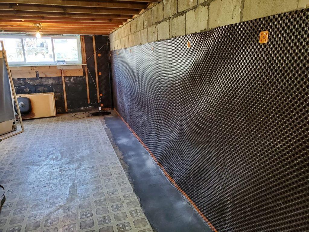 basement leak fixed with interior waterproofing